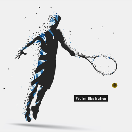 strive: Tennis Player, Particle divergent composition Illustration