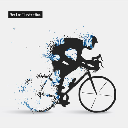 strive: Cyclists. Particle divergent composition Illustration