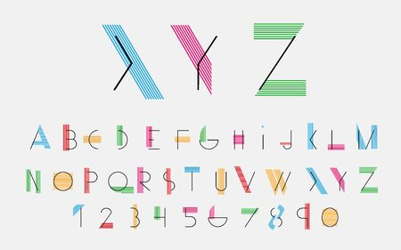 alphabetic: Black alphabetic fonts with color lines.