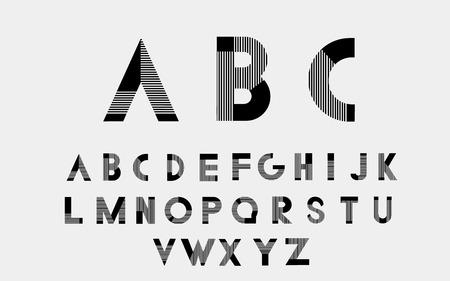 alphabetic: Black alphabetic fonts with white lines.
