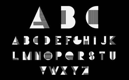 alphabetic: White alphabetic fonts with black lines.