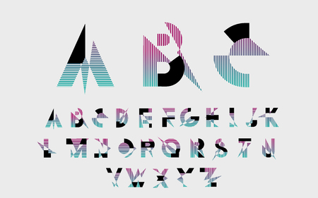 alphabetic: Black alphabetic fonts with color lines. Vector illustration.