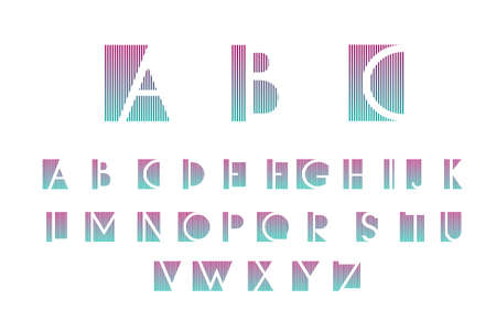 alphabetic: White alphabetic fonts with color lines. Vector illustration.