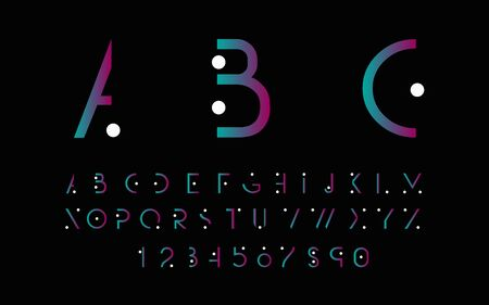 alphabetic: Purple alphabetic fonts with white points. Vector illustration.