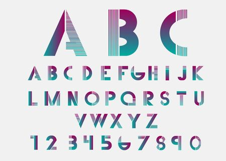 alphabetic: Purple alphabetic fonts with color lines. Vector illustration. Illustration