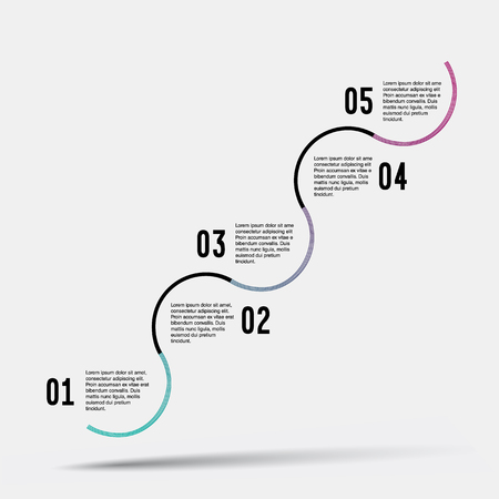 Step by step vector design. Step by step template.