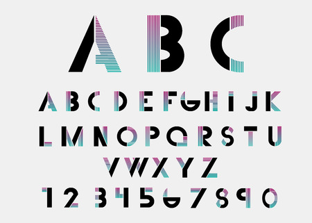 alphabetic: Black alphabetic fonts and numbers with color lines. Vector illustration.