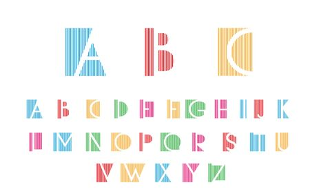 alphabetic: White alphabetic fonts and numbers with color lines. Vector illustration.