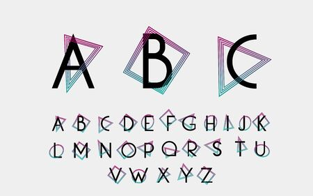 alphabetic: Black alphabetic fonts and numbers with color lines.