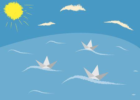 fleet: Paper boat icon Illustration