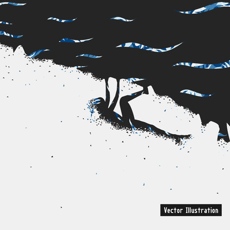 climbing mountain: Climbing illustration. Particle divergent composition