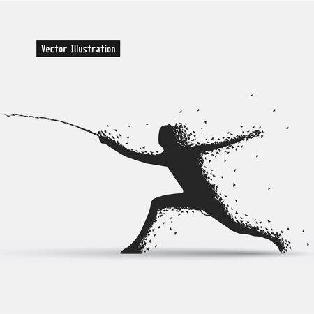 duel: Fencing illustration. Particle divergent composition