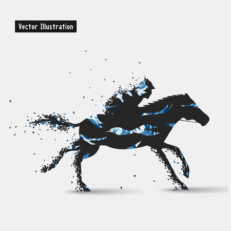 decathlon: Horseback riding illustration. Particle divergent composition