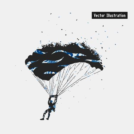 Parachuting illustration. Particle divergent composition