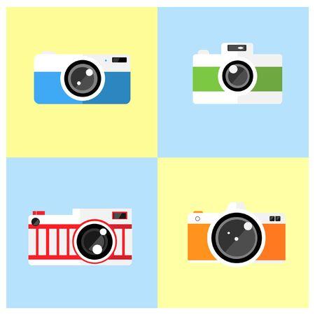 multiple exposure: Photo camera icons set on the shelf in flat style. Illustration