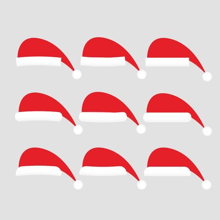 celebration smiley: Set of  hat vector isolated on white background. Santa hat. New Year icon set.