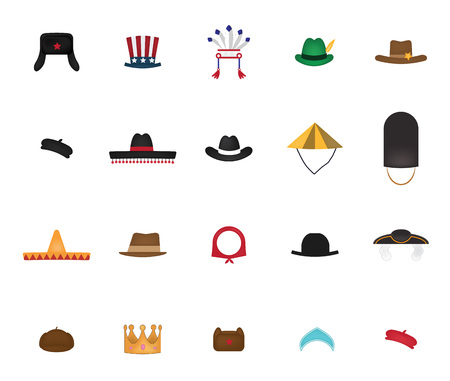 royal person: Set of  hat vector isolated on white background.