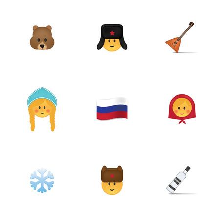 matreshka: vector isolated on white background. Emoji vector. Smile icon set. Emoticon icon web. Illustration