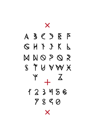 Black line letters on white