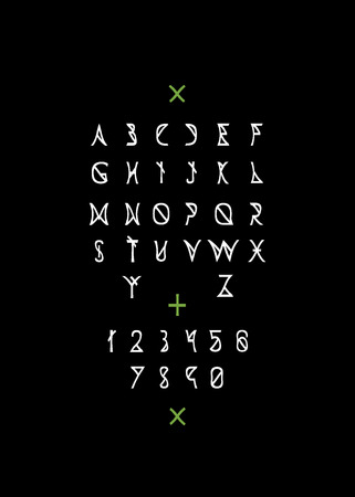 White line letters on black background.  Vector font. Vector alphabet.