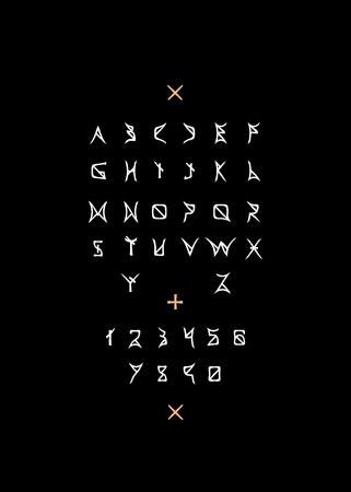White line letters on black
