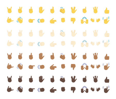 Vector isolated on white background. Gestures emoji vector. Smile icon set. Emoticon icon web. Vectores