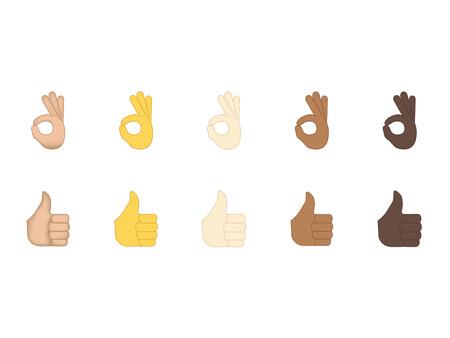 Set di vettore emoticon mano isolato su priorità bassa bianca. Vettore di emoji di gesti. Set di icone sorriso. Emoticon icona web.