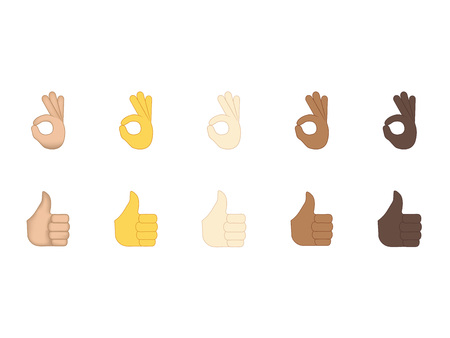 Set of hand emoticon vector isolated on white background. Gestures emoji vector. Smile icon set. Emoticon icon web.