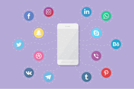 Vector phone with social media logos. Flat design.