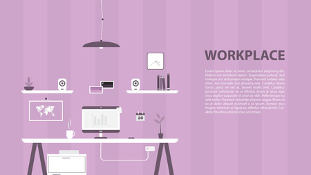 Modern design of workplace. Vector illustration in flat design. Office interior