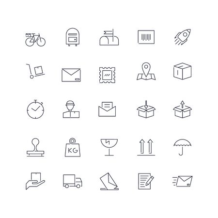 Ensemble d'icônes de ligne. Pack Web de service postal. Vecteurs