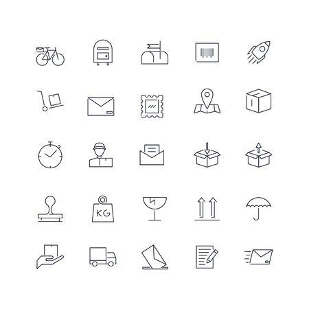 Zestaw ikon linii. Pakiet internetowy usługi pocztowej. Ilustracje wektorowe