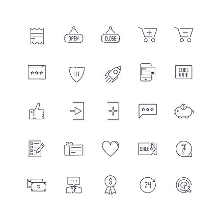 Line icons set. E-commerce pack. Vector batch Stock Illustratie