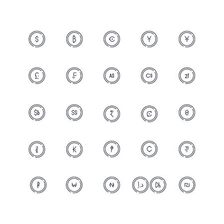 Line icons set. Currency market. Vector batch
