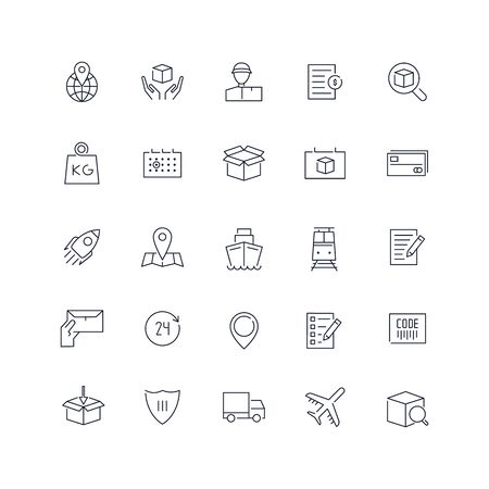 Line icons set. Delivery pack. Vector illustration.Web and Ui-UX Collection  Illustration