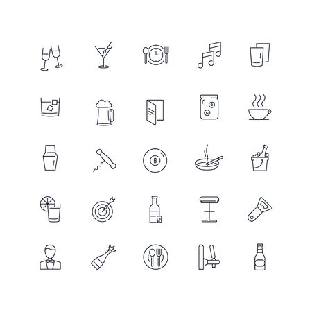 Line icons set. Bar pack. Vector illustration.Web and Ui-UX Collection  Illustration