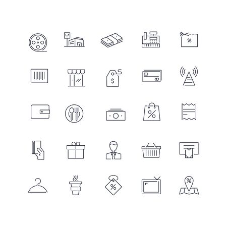 Line icons set. Mall pack. Vector illustration.Web and Ui-UX Collection