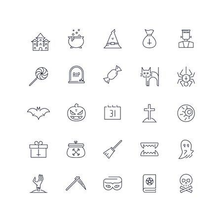 Line icons set. Halloween pack. Vector batch