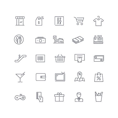 Line icons set. Mall pack. Vector illustration Ilustrace