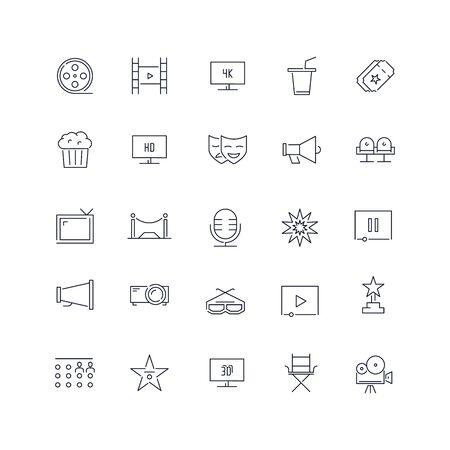 Line icons set. Cinema pack. Vector illustration