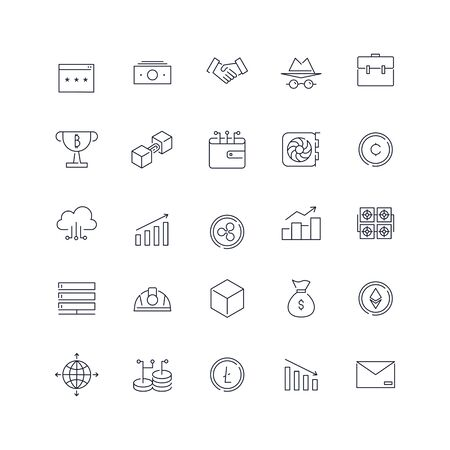 Line icons set. Cryptocurrency pack. Vector batch