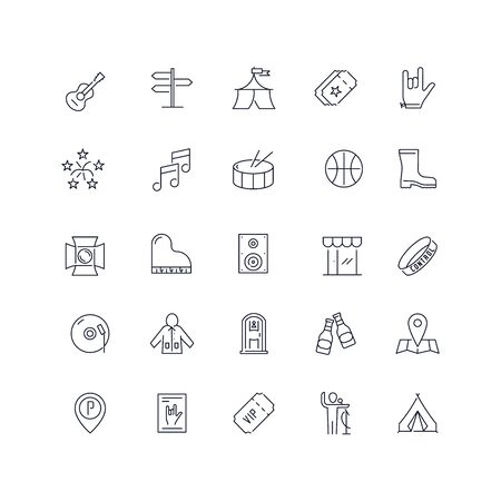 Line icons set. Music festival pack. Vector illustration.Web and Ui-UX Collection