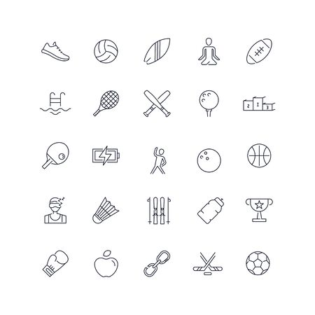 Line icons set. Sport pack. Vector illustration
