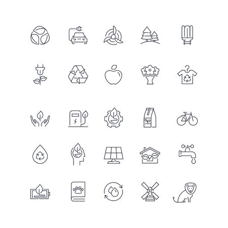 Line icons set. Eco pack. Vector illustration Ilustrace