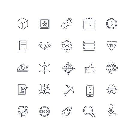 Line icons set. Blockchain pack. Vector batch Vectores