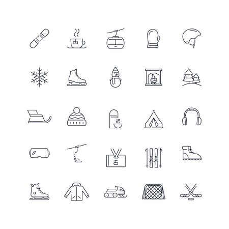Line icons set. Winter activity pack. Vector