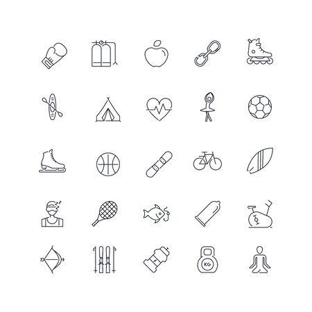 Line icons set. Active life pack. Vector