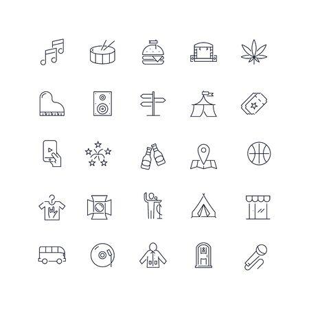 Line icons set. Music festival pack. Vector