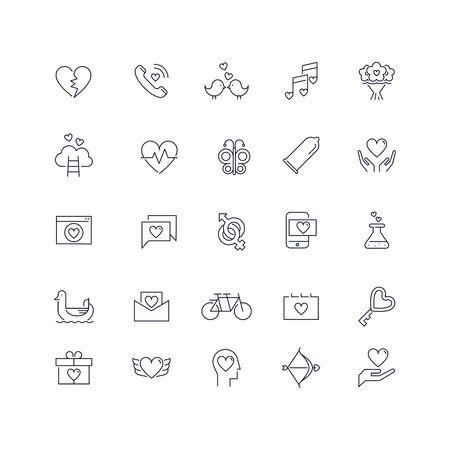 Line icons set. Love pack. Vector illustration