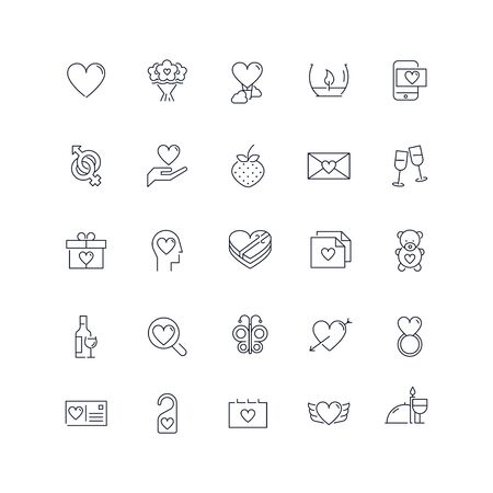 Line icons set. Valentines day pack. vector